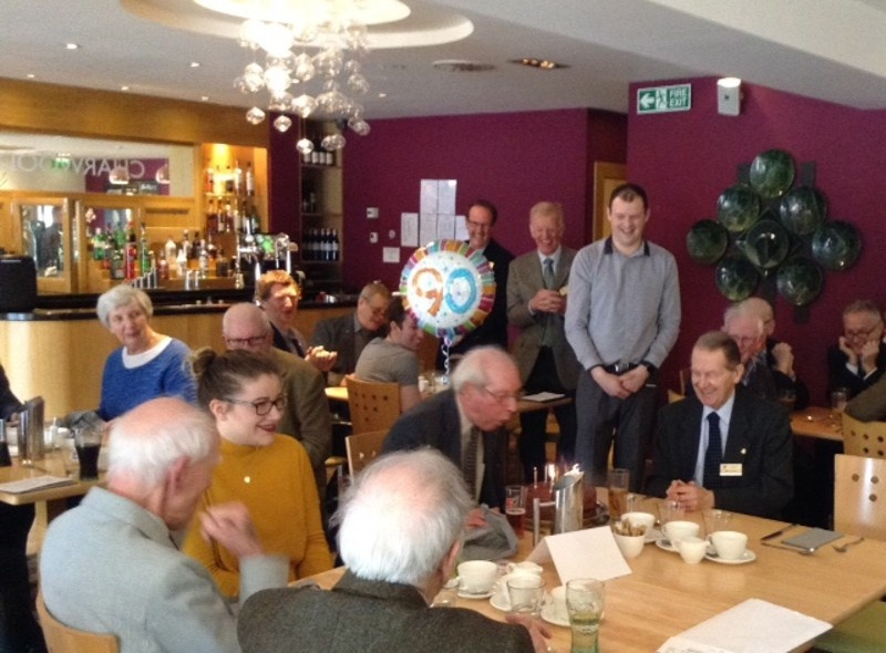 David Duff Celebrates his 90th Birthday at Wednesday's Club Meeting