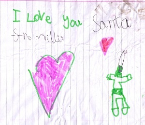 Thank you note to Santa from a child in Buckstone