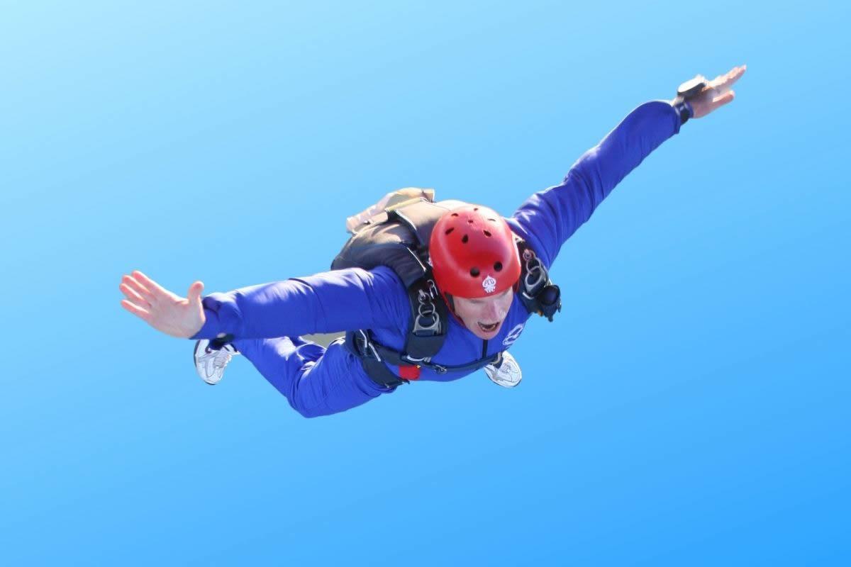 David Hynard, President Tenterden Rotary Club, parachute jump