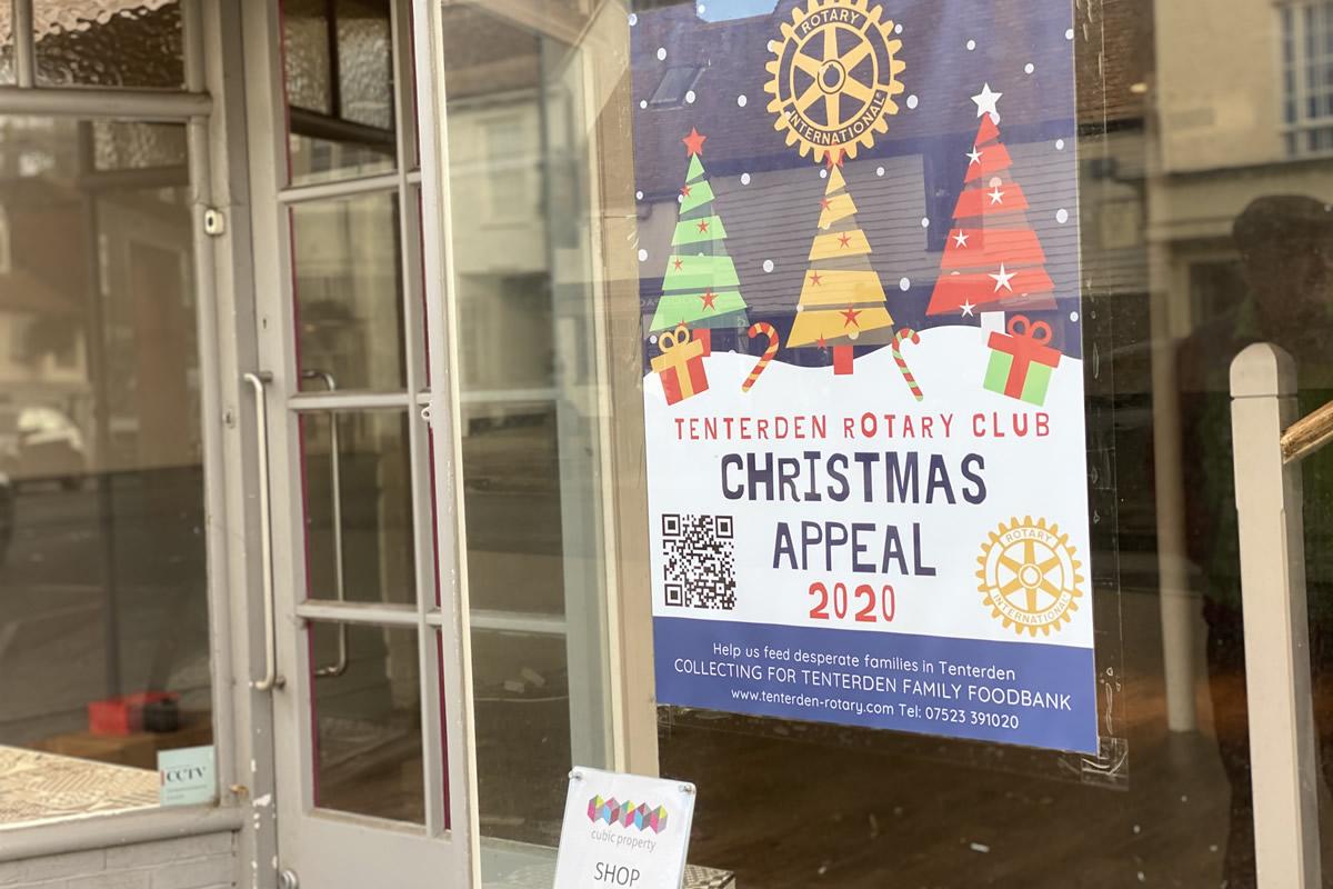 Xmas fundraising 2020 poster - Tenterden Shop Window