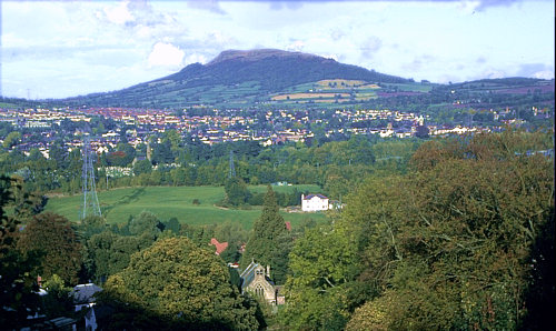 View across Abergavenny to the Skirrid