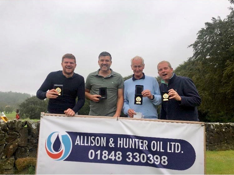 Local Alzheimer Day Care Centre Benefit From Local Golf Competition - Photograph (b) (courtesy of Michael Bonn) Winning team Allison & Hunter Oil Ltd, L-R: Craig Sloan, John Martin, Michael Bonn and James Kingan