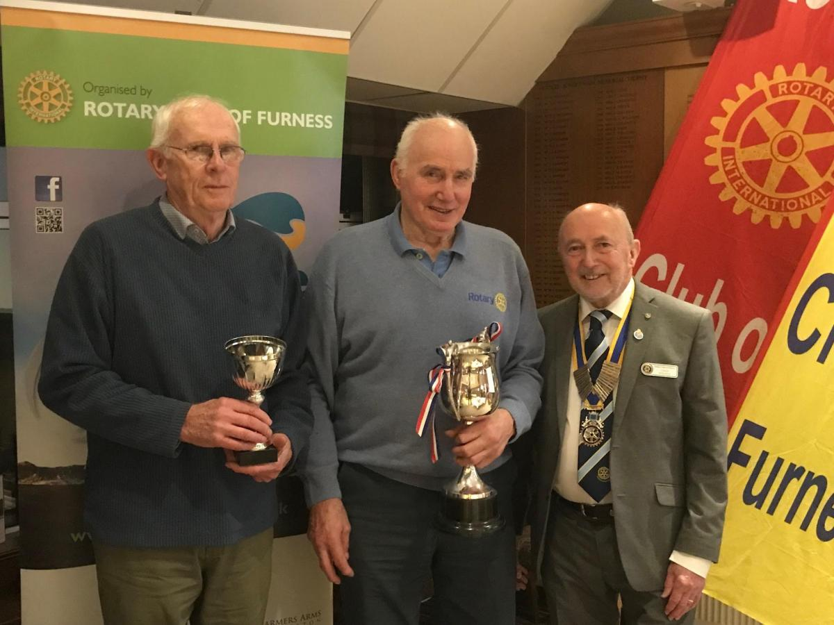 Tour de Furness Presentation Evening - President Colin (r) with Barrow Rotary Wheelers representatives Mike Dilks (l), and Graham Parker who topped the team section. They also picked up the Bill Bartlett Cup.