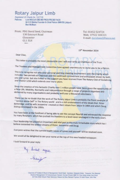 Rotary Jaipur Limb Project - Clive's invitation to become a Patron of the Charity