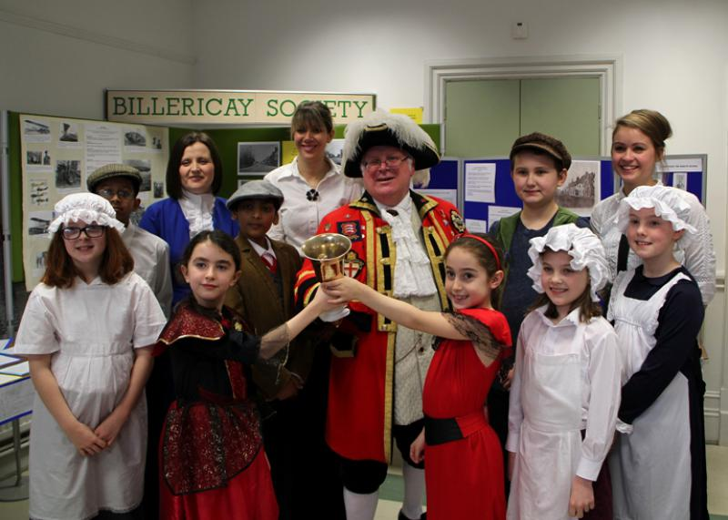 Reading Rooms 150 Year Anniversary - Group Town Crier Teachers and Schoolchildren