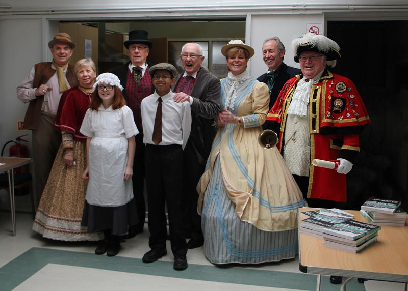 Reading Rooms 150 Year Anniversary - The Committee Town Crier and some of the children