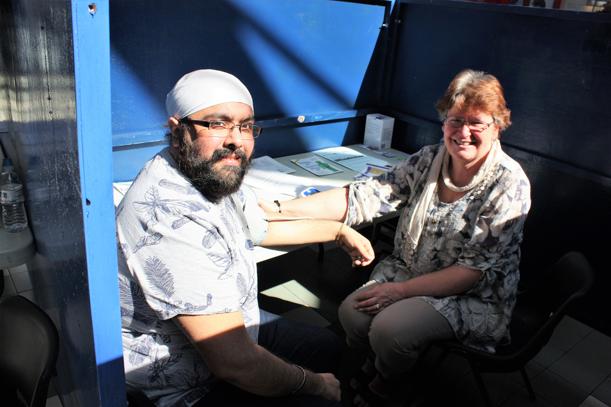 Fleet Rotary Stroke Awareness Day 2017 - Rupinder Singh (patient) with Nurse Carol Squibb