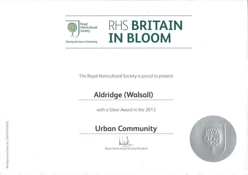 Britain in Bloom Award - Royal Horticultural Society Silver Award in The Urban Community section.