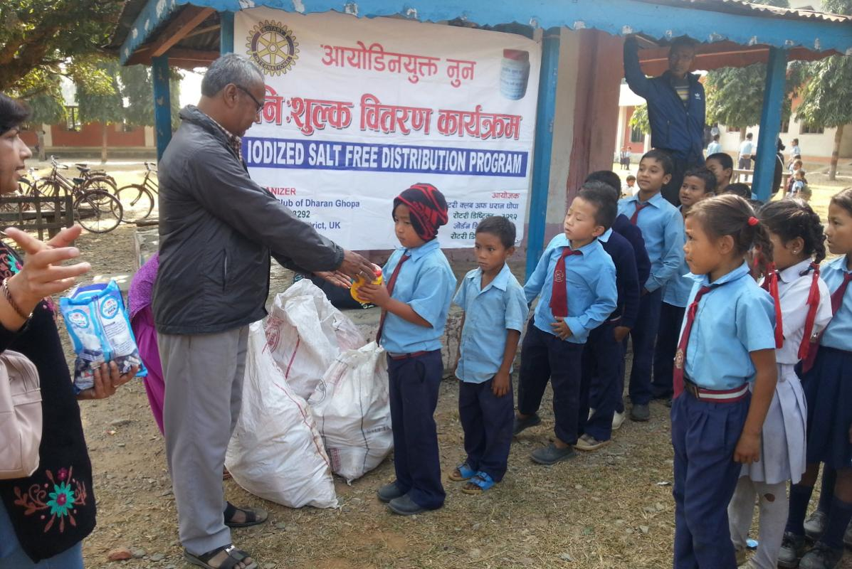 Preventing Iodine Deficiency Disease in Nepal - Iodized salt distribution to school children at Beltar School