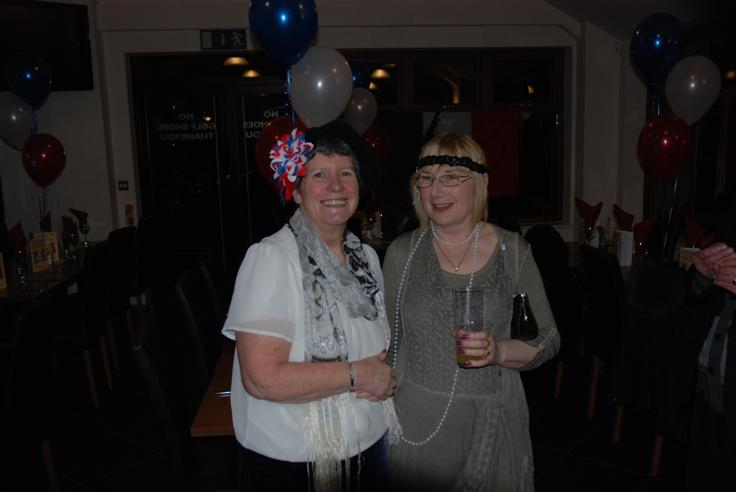 FRENCH THEMED ST VALENTINE DINNER. - Barbara showing colourful support for Danielle.