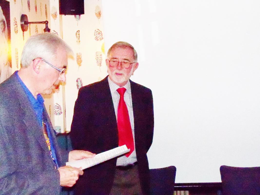 Andy Knight is inducted as a member - President Bob Knowles inducts Andy Knight