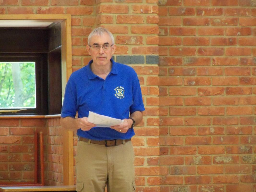 Senior Citizens Light Lunch & Afternoon Tea  - President Bob explains the running order for the afternoon