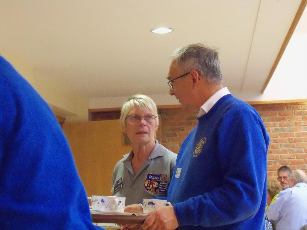 Senior Citizens Light Lunch & Afternoon Tea  - David & DG Mary busy serving tea & coffee