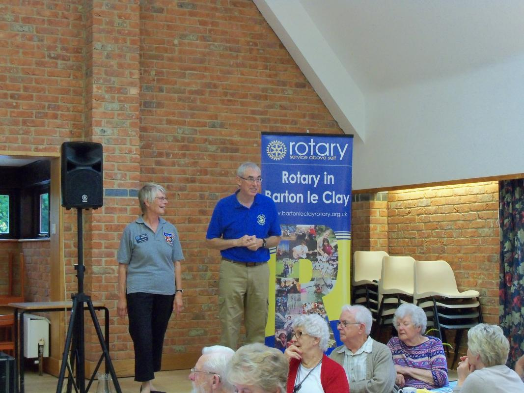 Senior Citizens Light Lunch & Afternoon Tea  - President Bob & District Governor Mary Whitehead closing the afternoon by thanking guests, entertainment & helpers