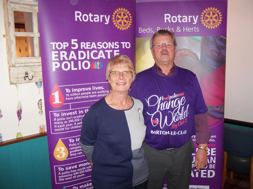 World Polio Day Thursday 24th October 2019 - Secretary Barry shows off his new shirt to District Governor Mary Whitehead