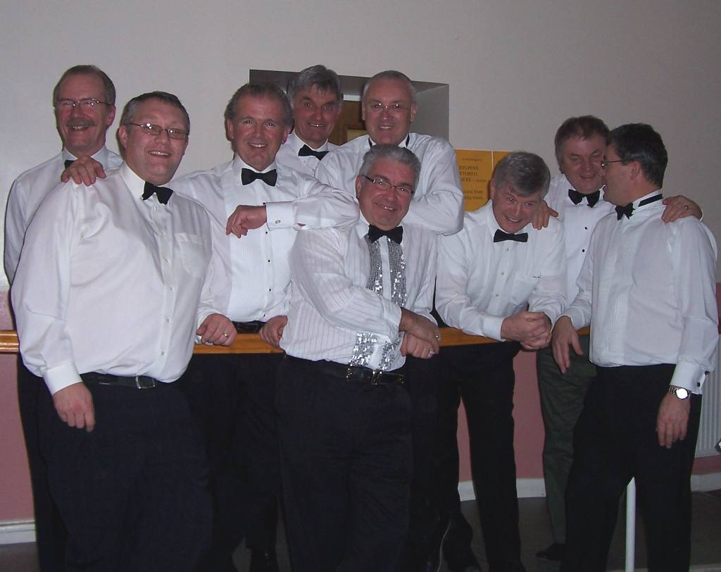 ST.VALENTINES DINNER 2007 - THE WAITERS- Keith, Richard,Grahame,John,David H,Lewis,Bob,Martin&Bill