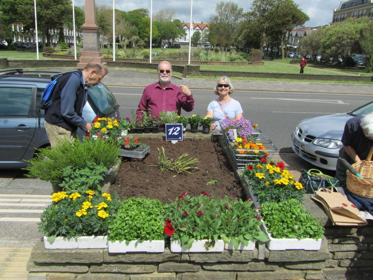Rotary in Action - a photo miscellany - Rotarians keeping flower beds tidy along Worthing seafront