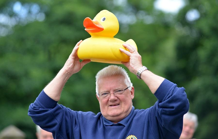 Turton's famous Duck Race - Incoming President Peter Gaskell has a quacking time