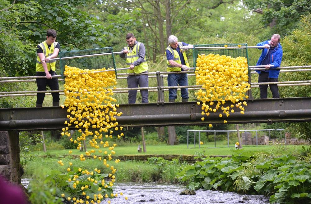 Turton's famous Duck Race - All systems go as the ducks are released