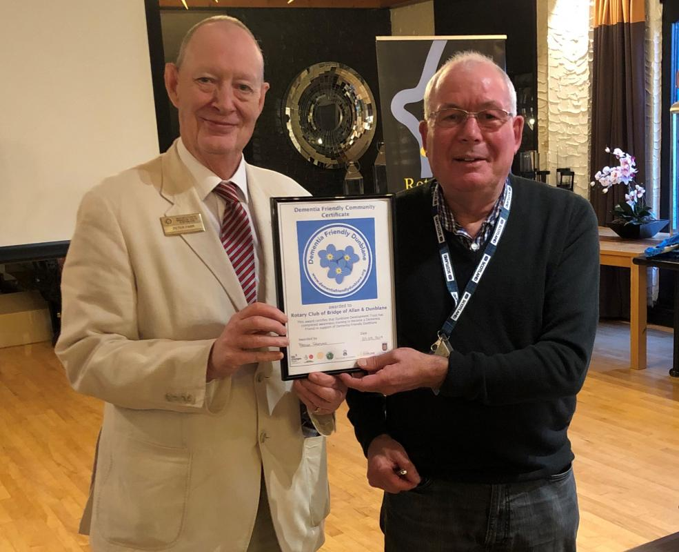 Stirling Council Makar -  Clive Wright Thursday Sept 12 @ 18.30 @ Westlands - Peter Farr presents Dementia Friendly certificate to President elect David Chisholm.