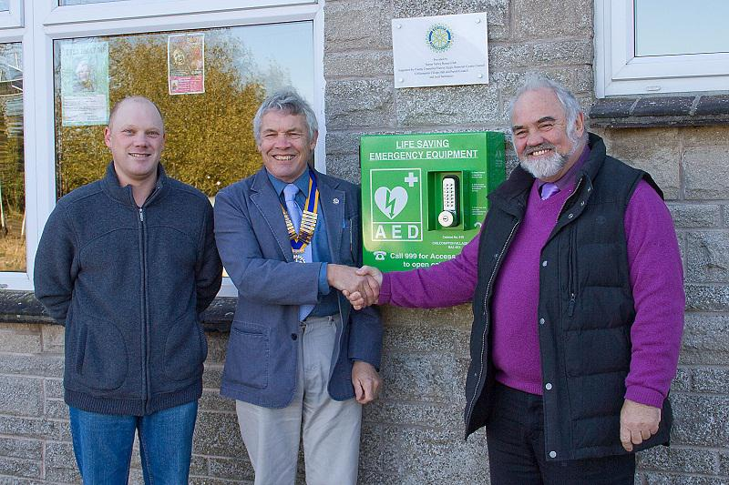 Defribrillator installed at Chilcompton Village Hall October 2012 - 121027 Rotary Chilcompton Defib 0005