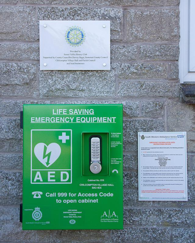 Defribrillator installed at Chilcompton Village Hall October 2012 - 121027 Rotary Chilcompton Defib 0007