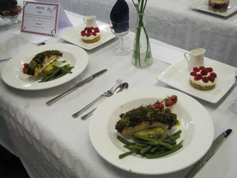 Young chef of the year, 8th November 2012 - Ready to be judged.  Two place settings of two courses.