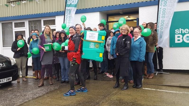 COLIN'S CHALLENGE - Latest - Arrival and welcome at ShelterBox HQ on Tues. 26th Jan. 2016.  70km - 12hrs through wind and rain.  Well done Colin !
