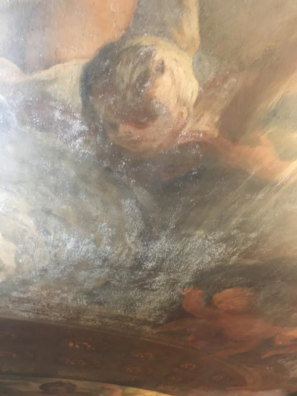 Visit to the Painted Ceiling Greenwich - Layers of varnish have caused severed deterioration