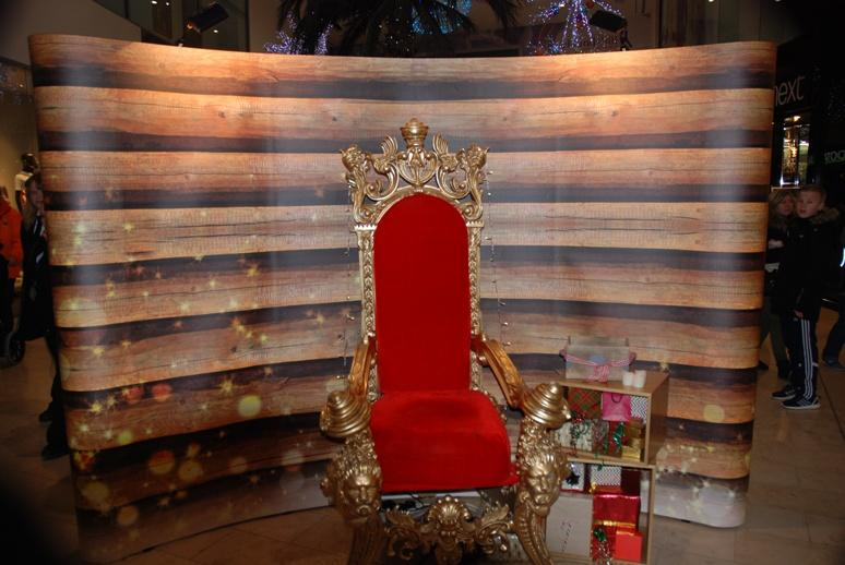 SANTA VISITS THE HOUNDSHILL CENTRE, BLACKPOOL - Santa's throne is waiting for him.