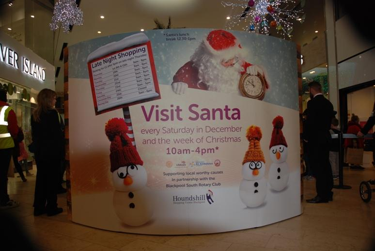 SANTA VISITS THE HOUNDSHILL CENTRE, BLACKPOOL -  A great back drop for Santa.