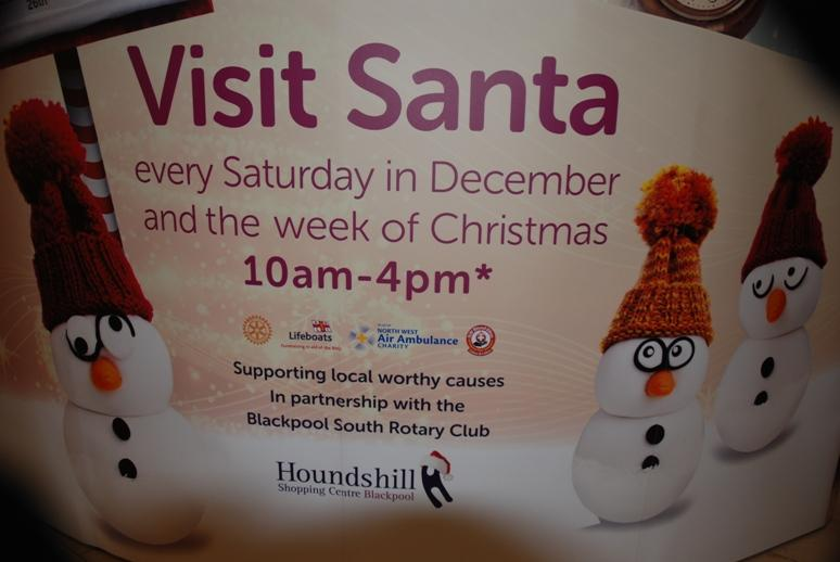 SANTA VISITS THE HOUNDSHILL CENTRE, BLACKPOOL - The public can see clearly who we were collecting for.