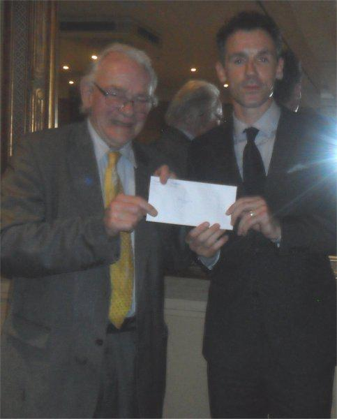 Cheque Presentation Evening - 18th Sept. 2014 - Lord Petre presents a cheque to Christian Dailly for Maggies