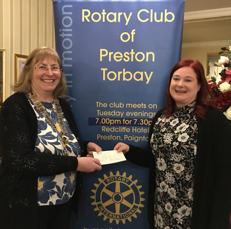 Paignton Larder Cheque Presentation - Cheque presentation 15/01/2019 - Money donations from Club Members to purchase food.