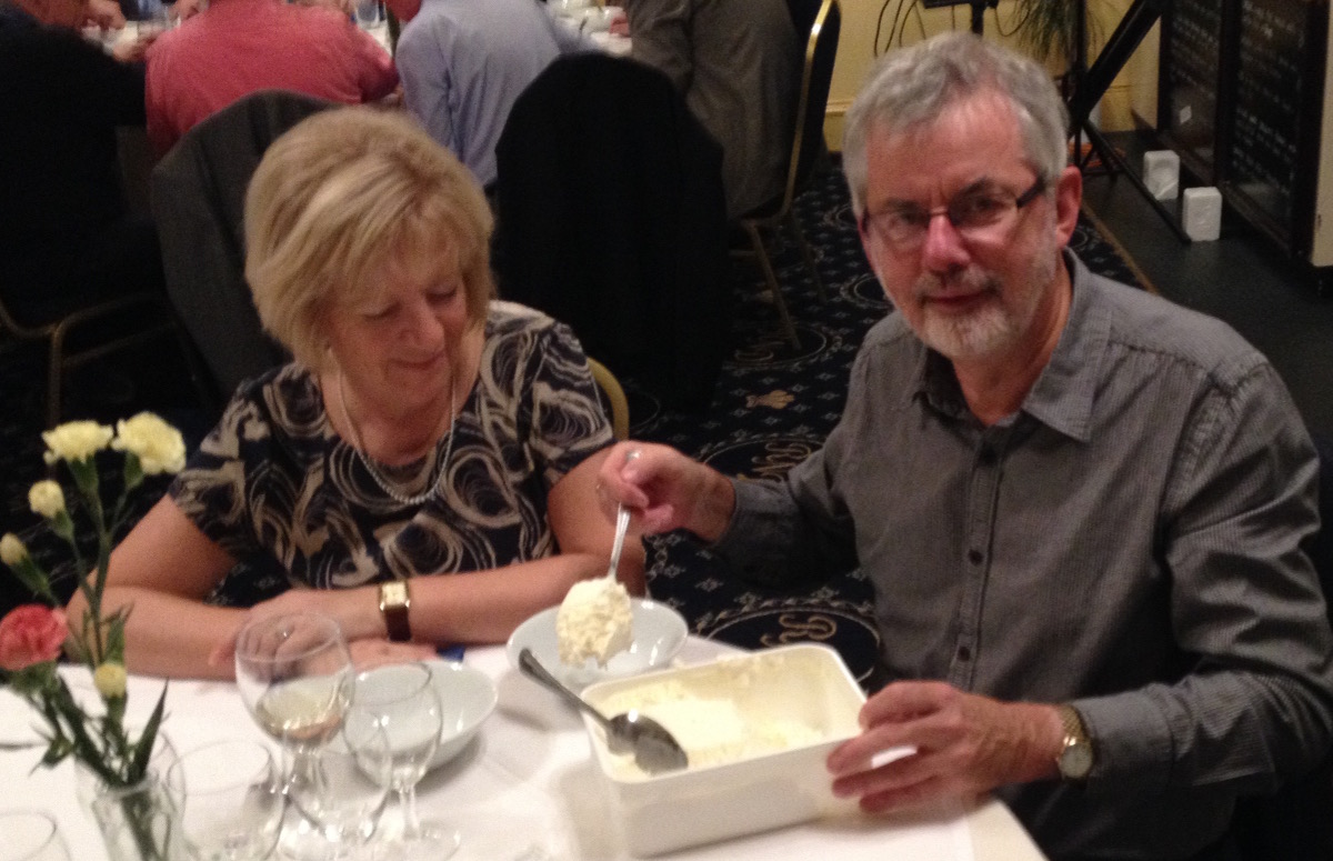2015-16 Rotary Year - And tubs of the delicious ice cream were served at each table - enjoyed by all including Roz & Rtn Don Carter
