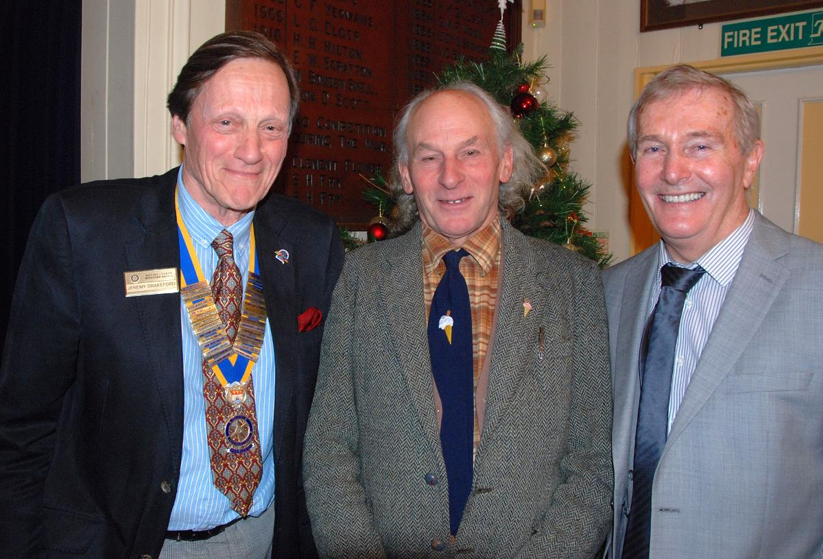 2015-16 Rotary Year - Geoff Hockings wafered between Pres. Jeremy and 'Speaker Finder', Rtn Chris Norburn!
