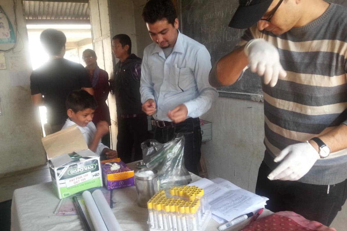 Preventing Iodine Deficiency Disease in Nepal - Blood, urine and salt sample collection at Narad School, Basaha for analysis of urinary iodine, salt iodine and thyroid hormone assessment