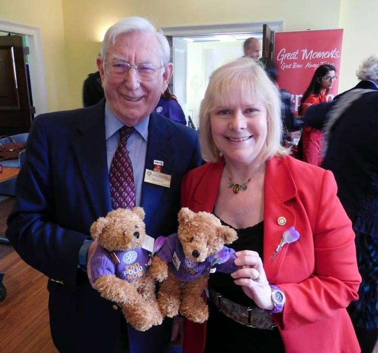 Fred Bear raising awareness and funds to end polio - With my good friend Ken - we met up with RIBI President Eve Conway and Pinky Bear.