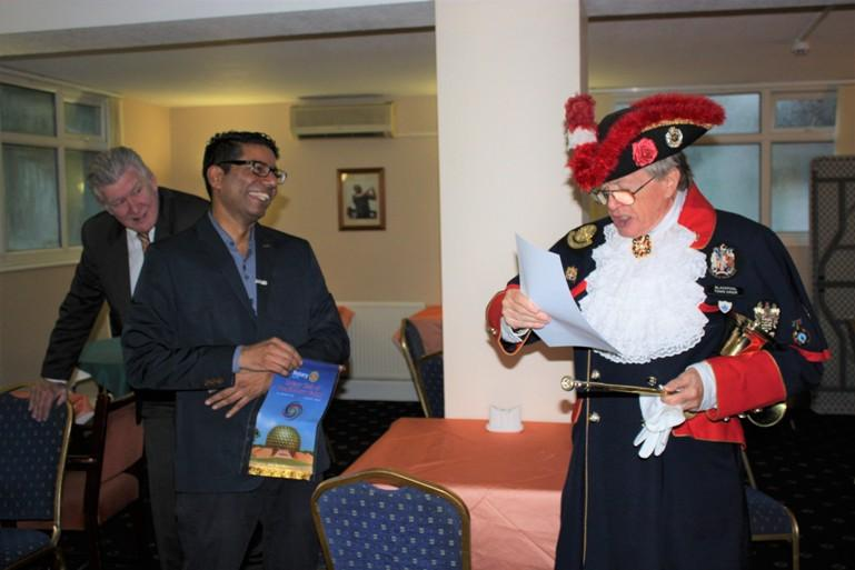 Hospital Consultant from India visits Blackpool South Rotary Club - Dr Tirou enjoys the theatrical welcome.
