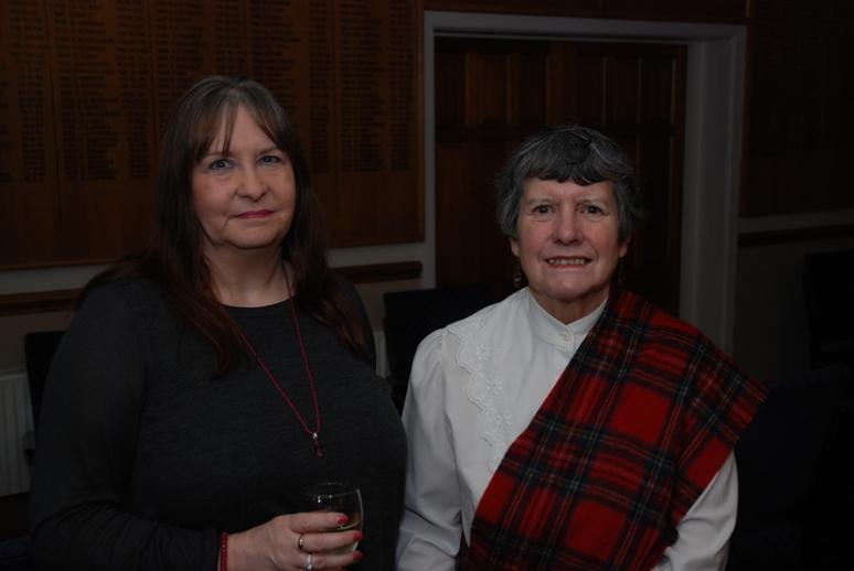 BURNS NIGHT - 2016 - President Barbara in tartan shawl and her friend Jayne.