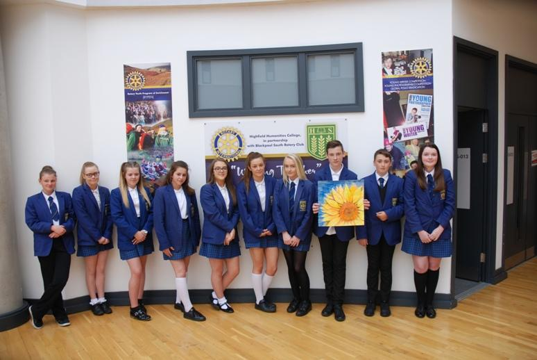 ROTARY YOUNG ARTIST 2015 -2016 - The ten winning students with Jay Hooper holding his District and Club winning artwork.