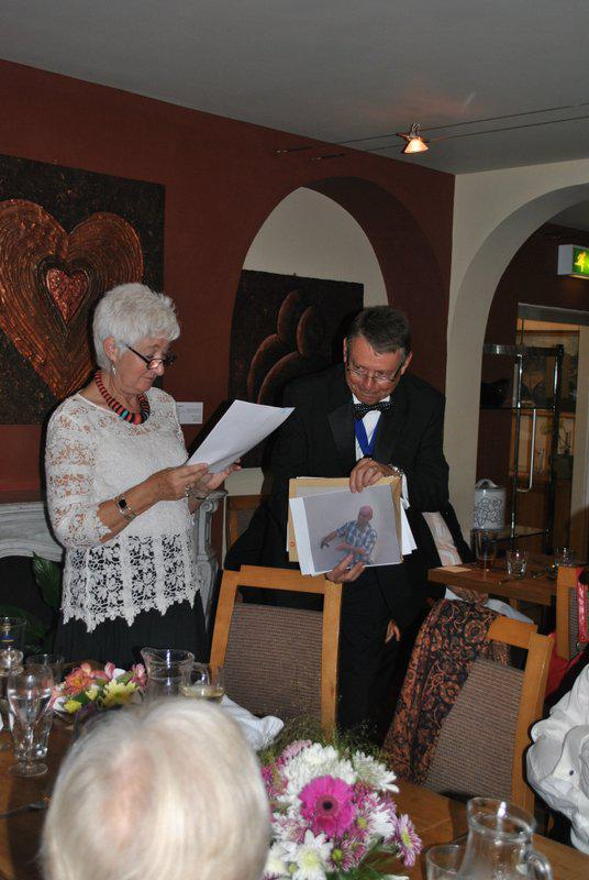 7:30pm PRESIDENTS NIGHT at the Clive Hotel, Ludlow - Ian and Carolyn with Kim's picture