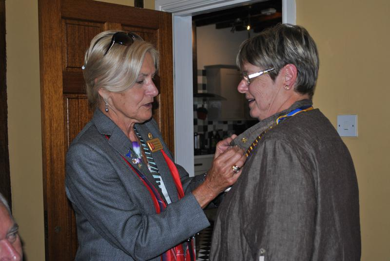 12.45 for 1pm Lunch at Ffrydd House, Knighton - Presenting President Sheila with a special pin