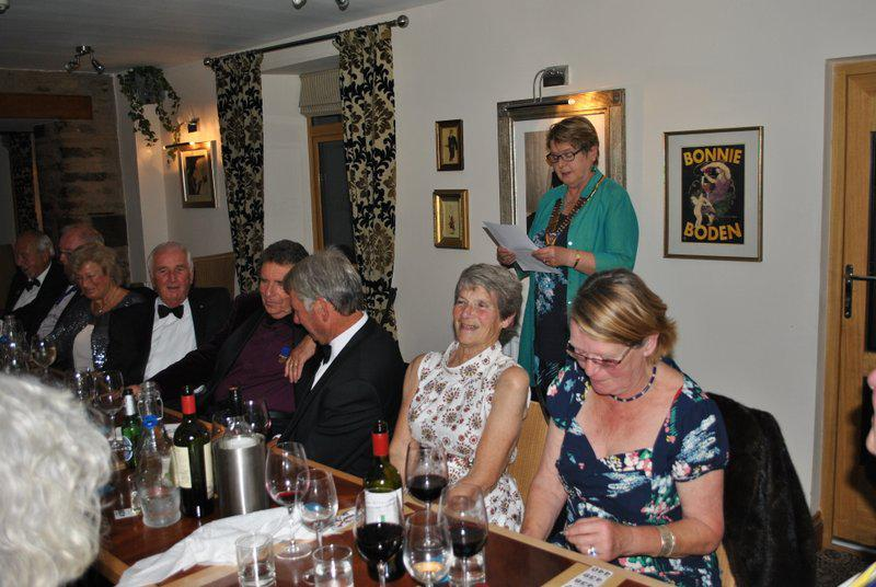 7.15 for 7.30pm Sheila's President's night at the Castle Inn - President Sheila entertaining her troops...