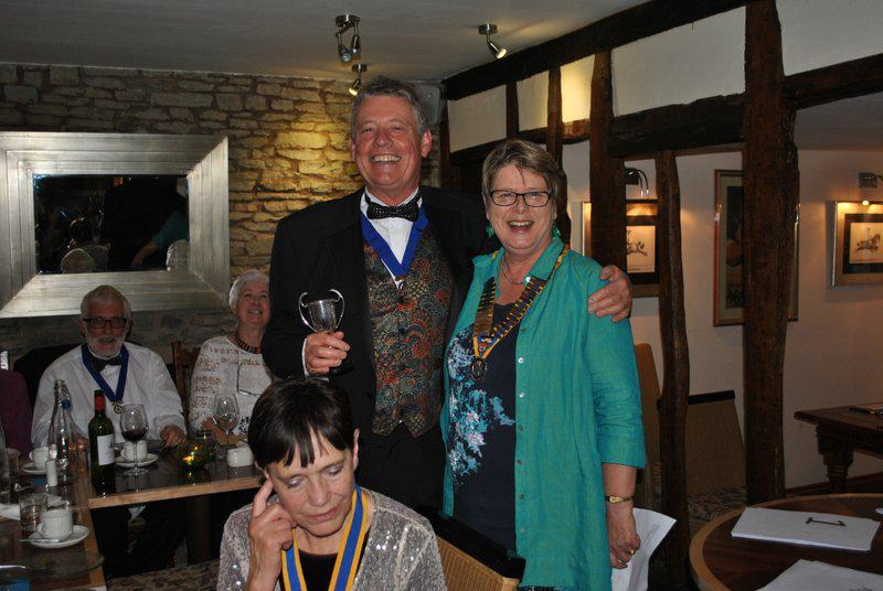 7.15 for 7.30pm Sheila's President's night at the Castle Inn - Ian after receiving the Verney Pugh award from Sheila