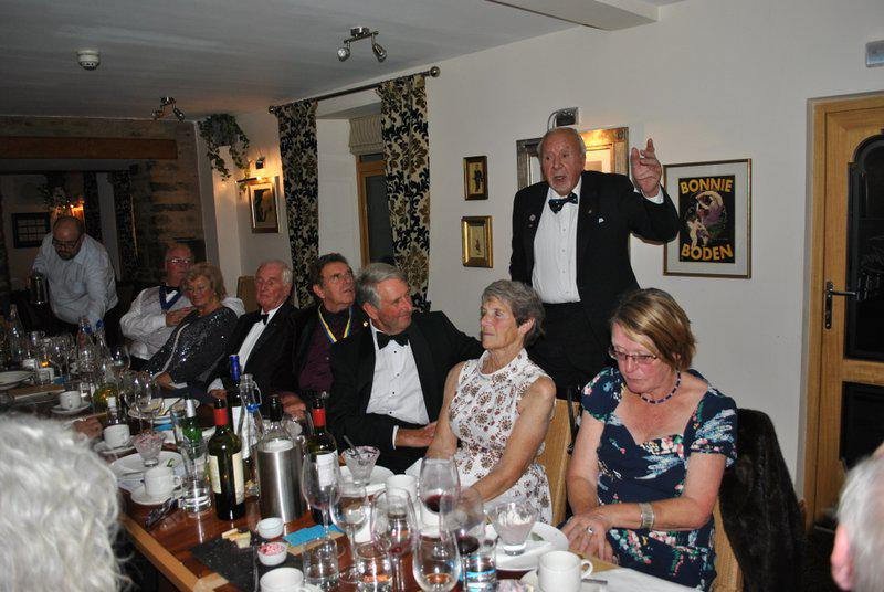 7.15 for 7.30pm Sheila's President's night at the Castle Inn - Roy telling his tale of the Savoy