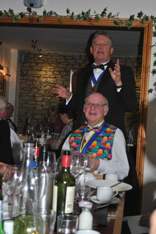 7.15 for 7.30pm Sheila's President's night at the Castle Inn - Ian getting us all organised for the little play ....
