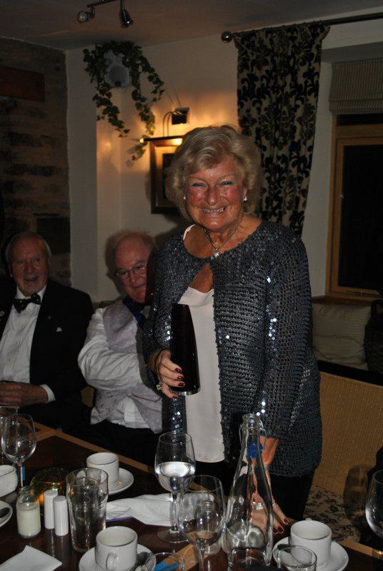 7.15 for 7.30pm Sheila's President's night at the Castle Inn - Ann and the Richard Morgan trophy - well deserved!