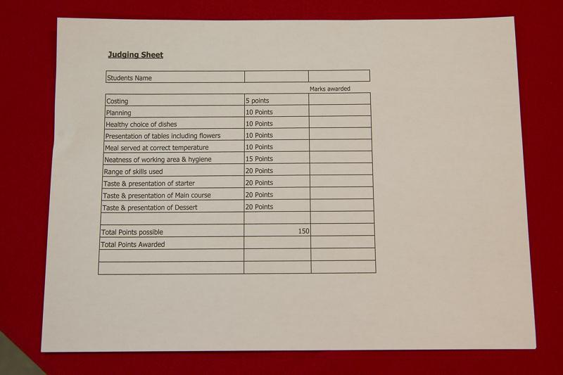Rotary Young Chef 2014-15 - Jersey Final November 2014 - A judges evaluation sheet.