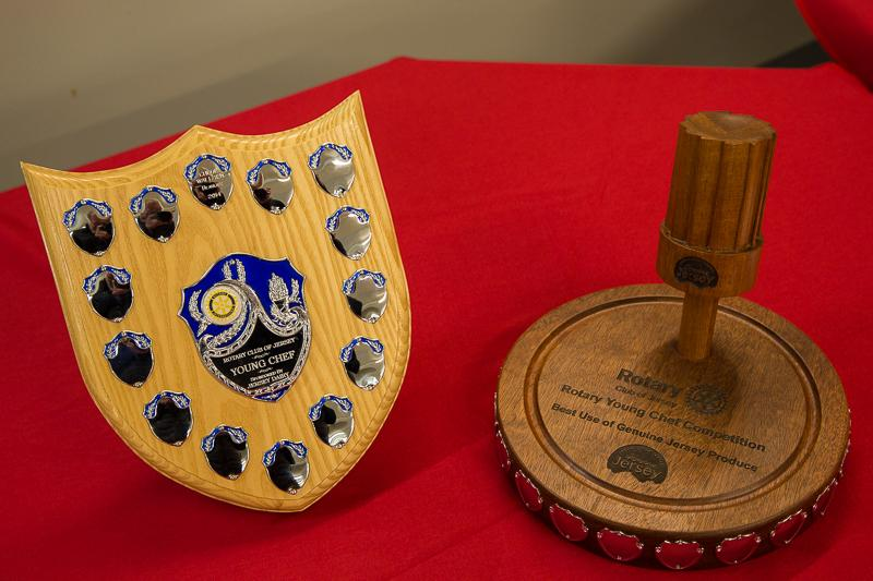 Rotary Young Chef 2014-15 - Jersey Final November 2014 - The Trophies, sponsored by left Jersey Dairy and right Genuine Jersey.